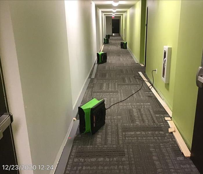 Apartment hallway with equipment