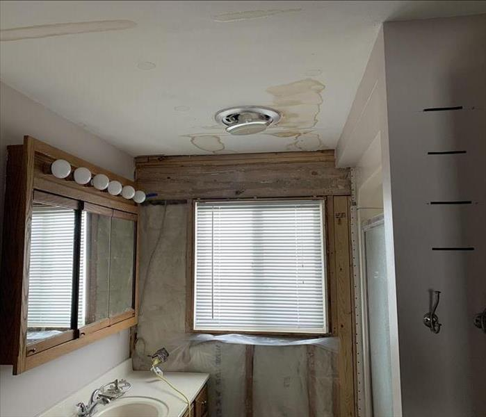 Bathroom ceiling with water damage
