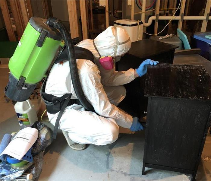 SERVPRO of Ames staff vacuuming mold spores.